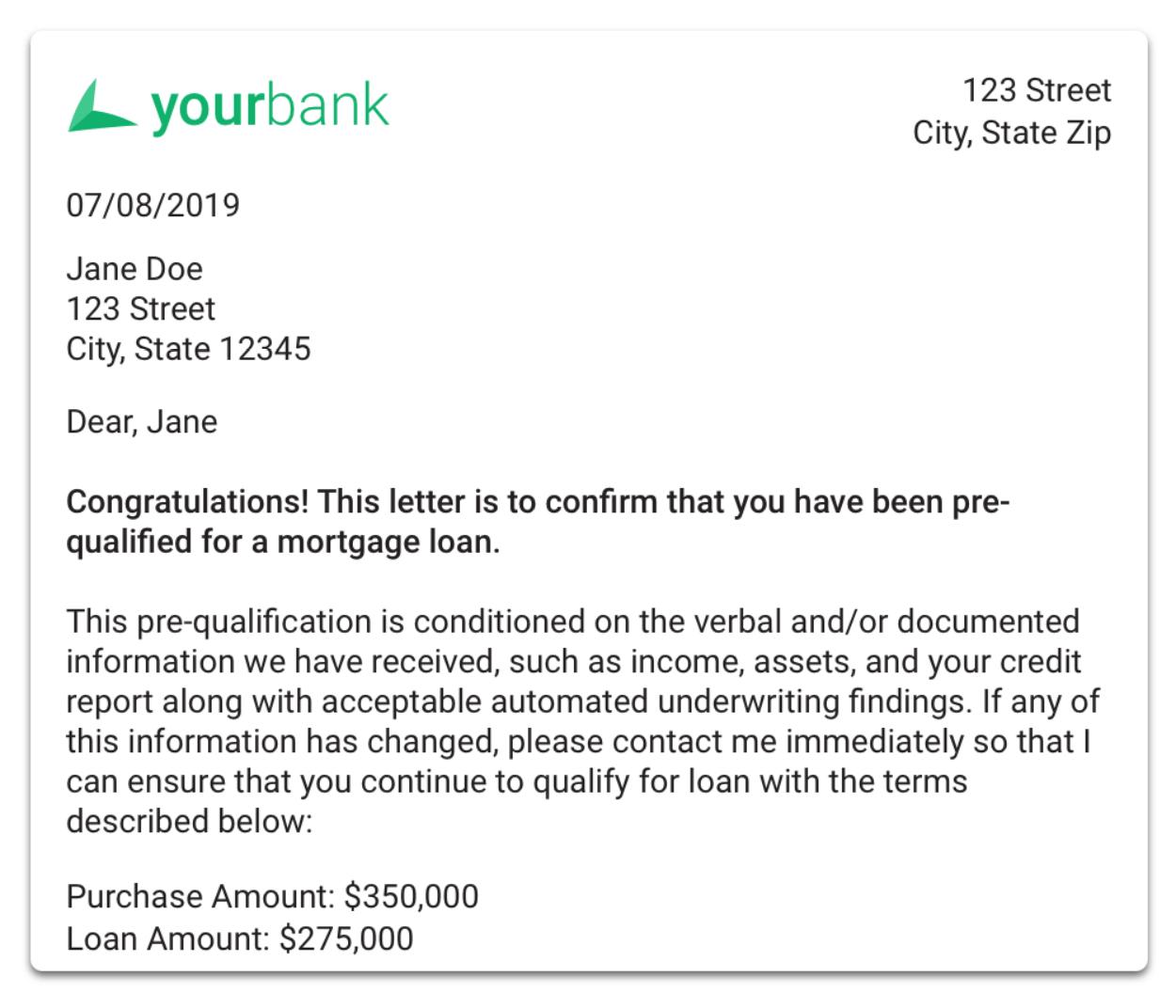 Pre-Qualification Letter
